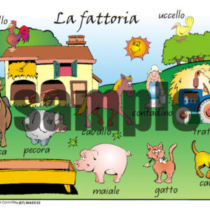 The farm Italian vocabulary A4 poster